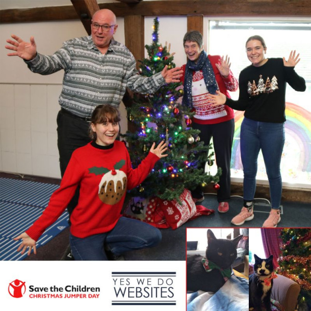 Christmas Jumper Day has reached Yes We Do Websites! We've donned our Christmas jumpers in aid of Save the Children, supporting children in the UK and around the world. Even the cool cats working from home took part! (some more enthusiastically than others) #ChristmasJumperDay #SillyJumperSeriousCause #christmasjumper #surreybusiness