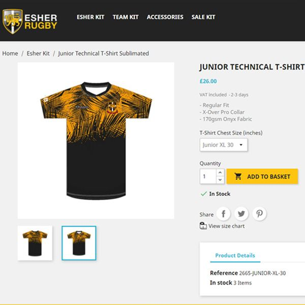 Esher Rugby Shop - Rugby Club Kit Online Shop